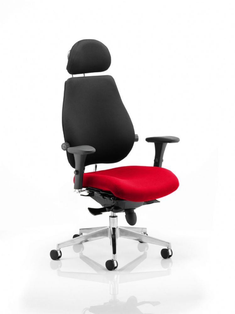 Chiro Plus Ultimate Posture Chair Arms Standard Black Fabric Back Headrest Various Seat Colours
